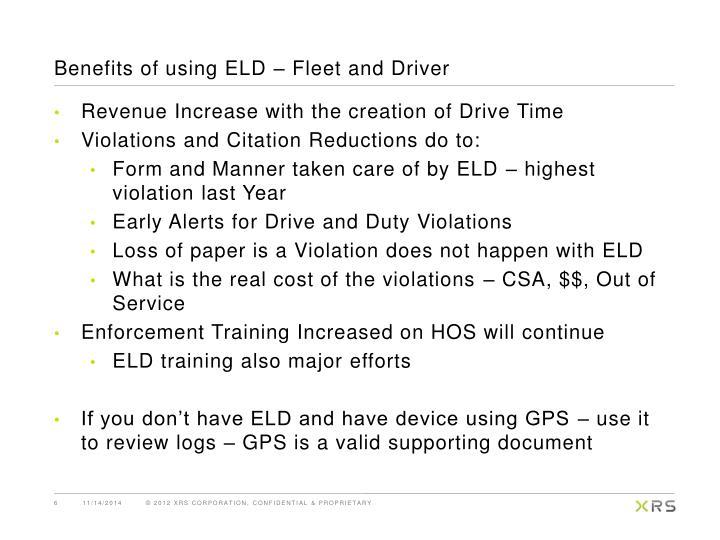 Benefits of using ELD – Fleet and Driver