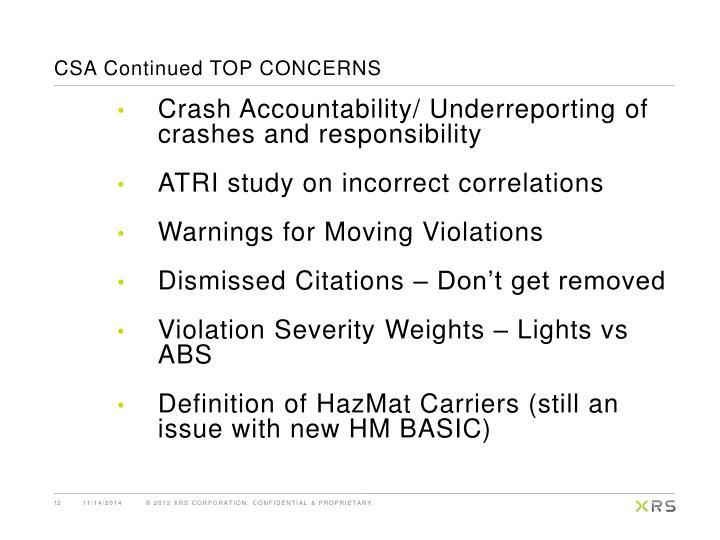 CSA Continued TOP CONCERNS