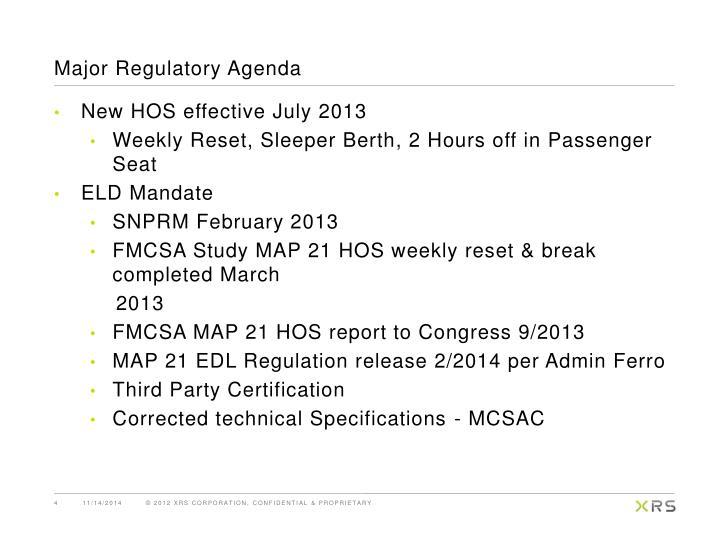 Major Regulatory Agenda