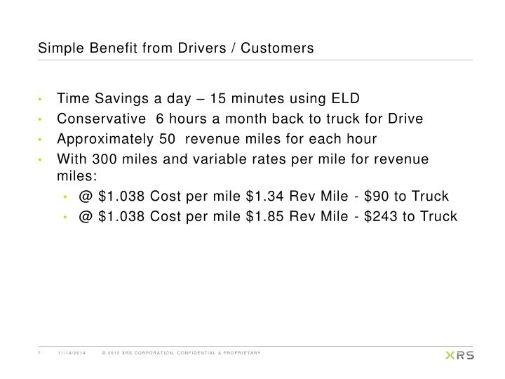 Simple Benefit from Drivers / Customers