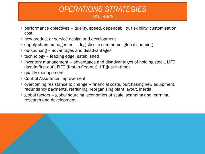 operations strategies