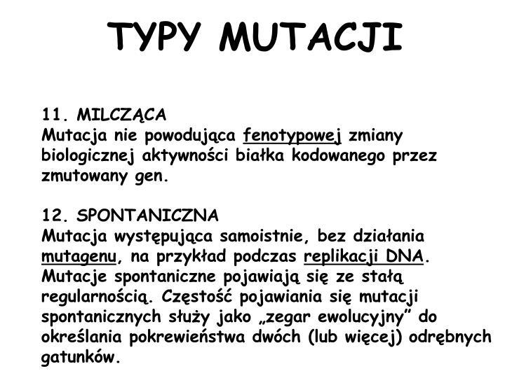 TYPY MUTACJI