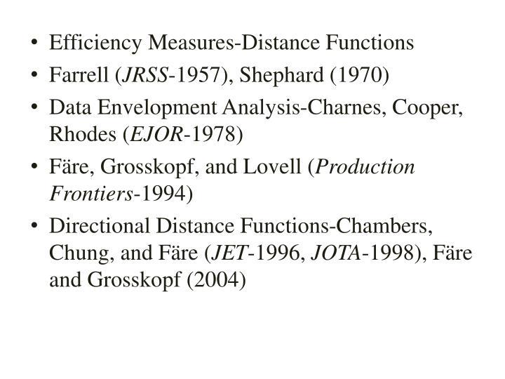 Efficiency Measures-Distance Functions