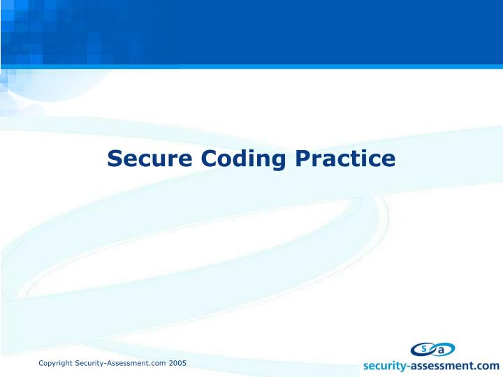 Secure coding practice