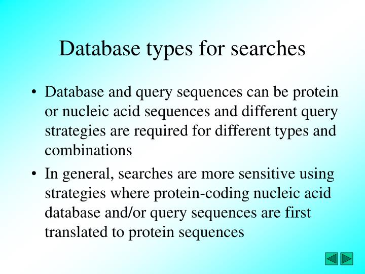 Database types for searches
