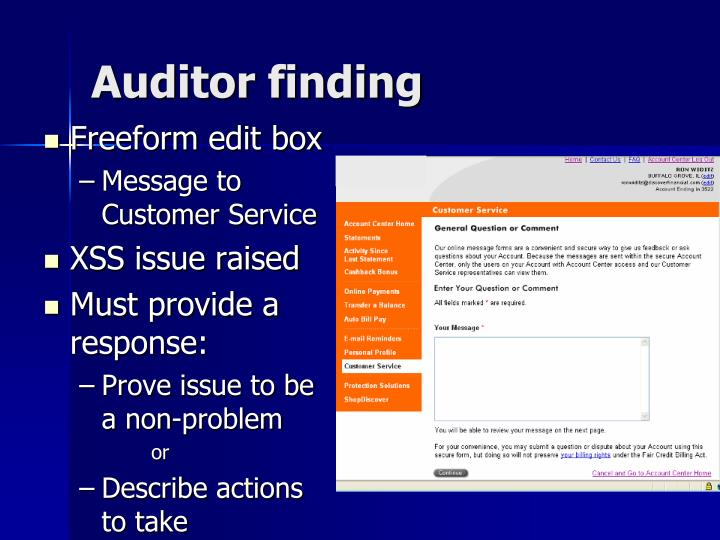 Auditor finding
