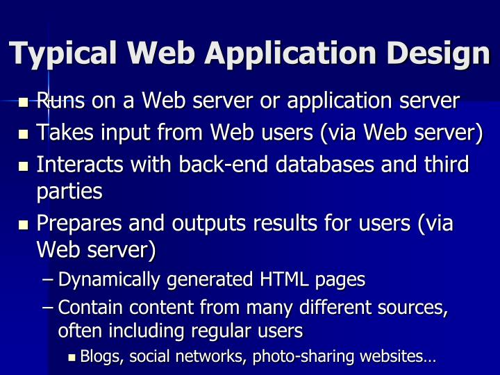 Typical Web Application Design