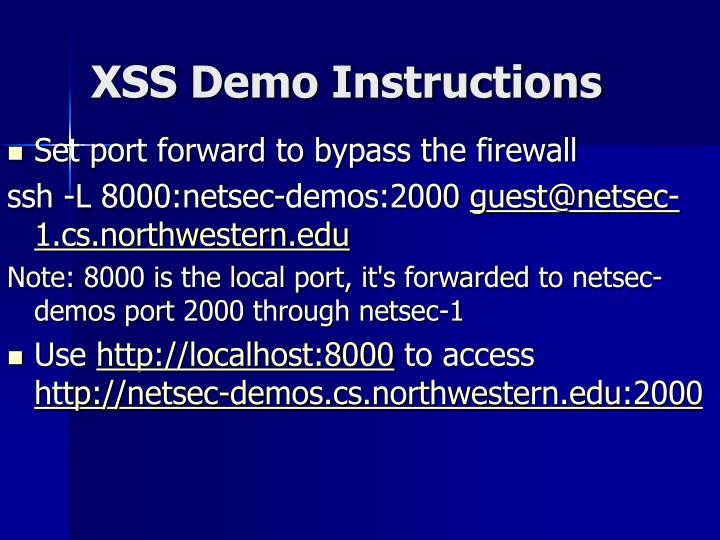 XSS Demo Instructions