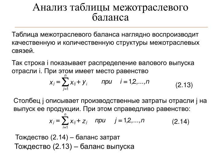 Анализ таблицы межотраслевого баланса