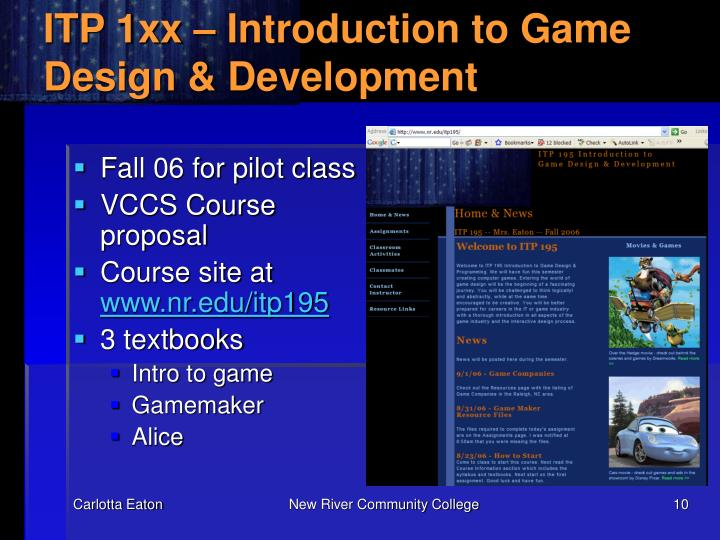 ITP 1xx – Introduction to Game Design & Development