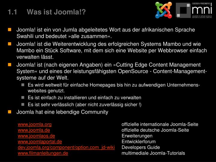 1.1Was ist Joomla!?
