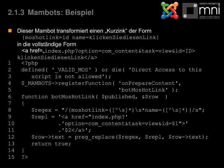 2.1.3Mambots: Beispiel