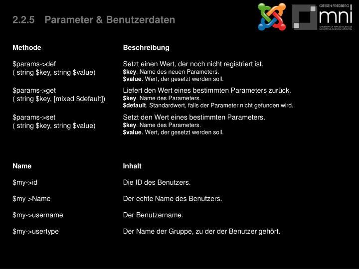 2.2.5Parameter & Benutzerdaten