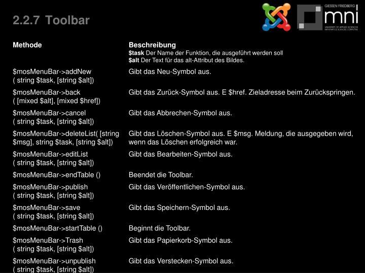 2.2.7Toolbar