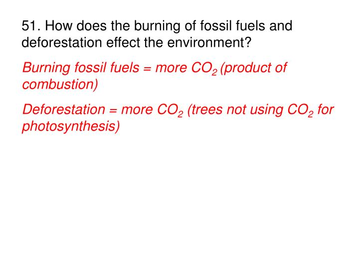 51. How does the burning of fossil fuels and deforestation effect the environment?