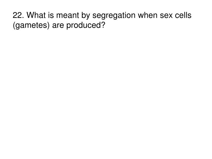 22. What is meant by segregation when sex cells (gametes) are produced?
