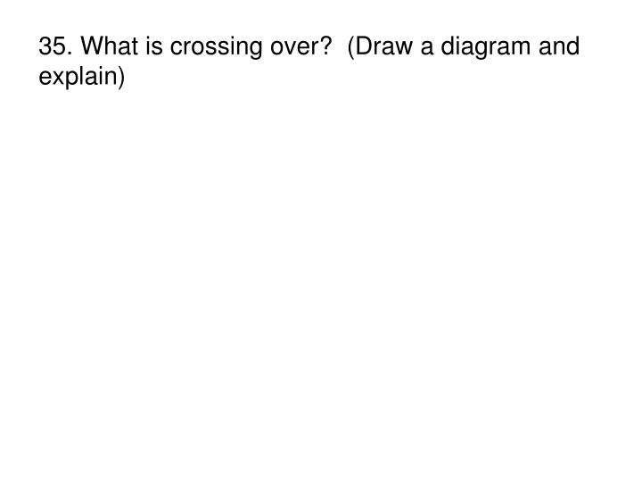 35. What is crossing over?  (Draw a diagram and explain)