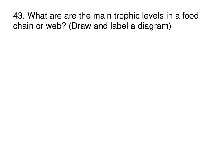 43. What are are the main trophic levels in a food chain or web? (Draw and label a diagram)