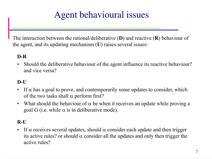 Agent behavioural issues
