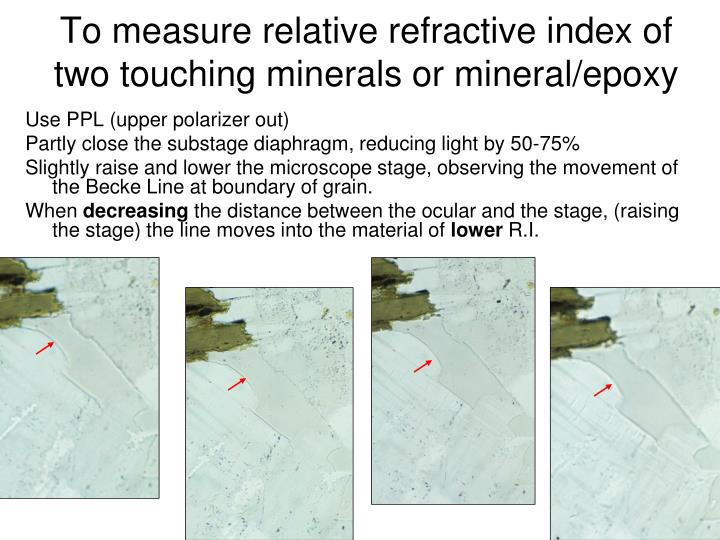 To measure relative refractive index of two touching minerals or mineral/epoxy