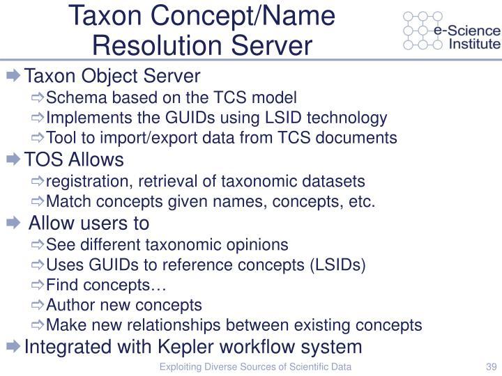 Taxon Concept/Name Resolution Server