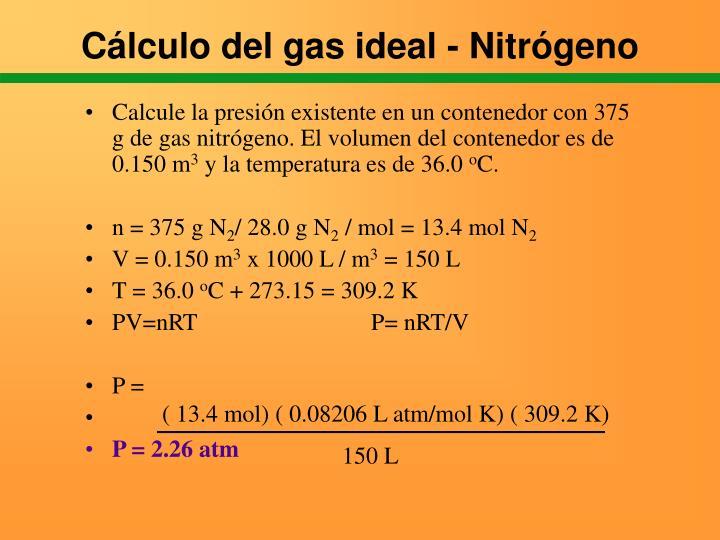 Cálculo del gas ideal - Nitrógeno