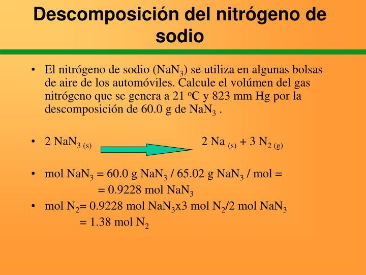 Descomposición del nitrógeno de sodio