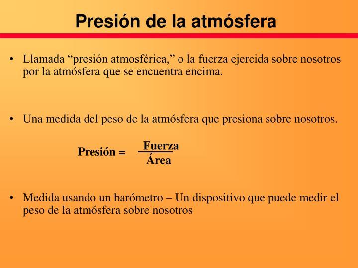 Presión de la atmósfera