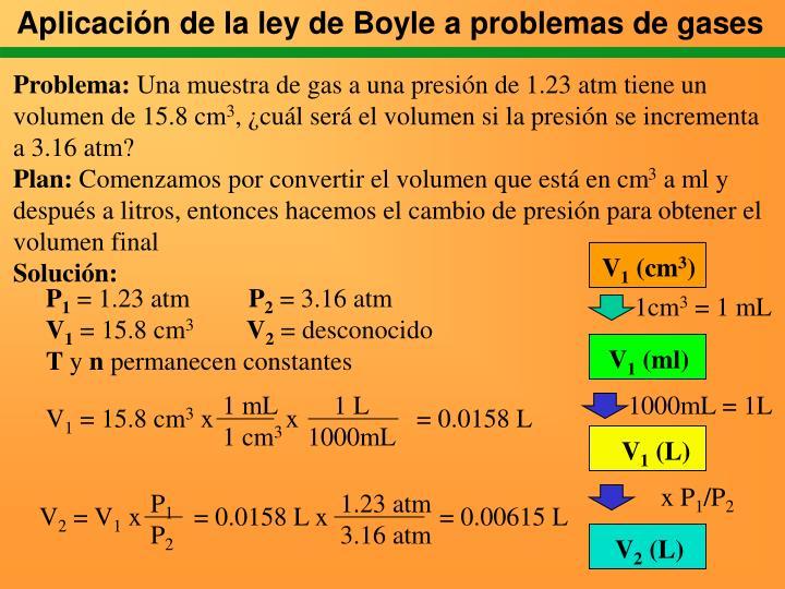 Aplicación de la ley de Boyle a problemas de gases