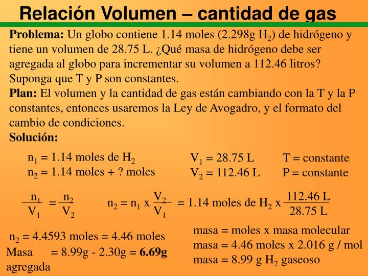 Relación Volumen – cantidad de gas