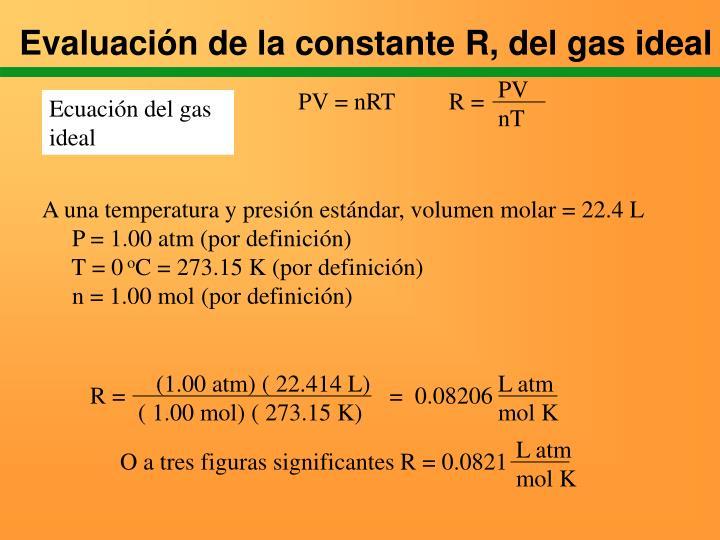 Evaluación de la constante R, del gas ideal