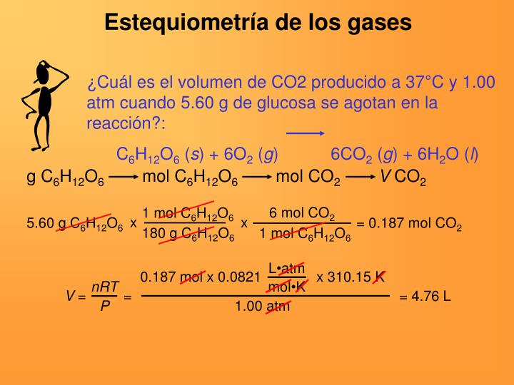 ¿Cuál es el volumen de CO2 producido a 37°C y 1.00 atm cuando 5.60 g de glucosa se agotan en la reacción?: