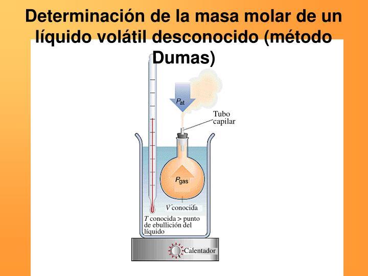 Determinación de la masa molar de un líquido volátil desconocido (método Dumas)