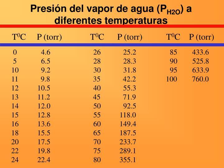 Presión del vapor de agua (P