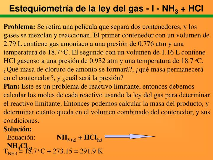 Estequiometría de la ley del gas - I - NH