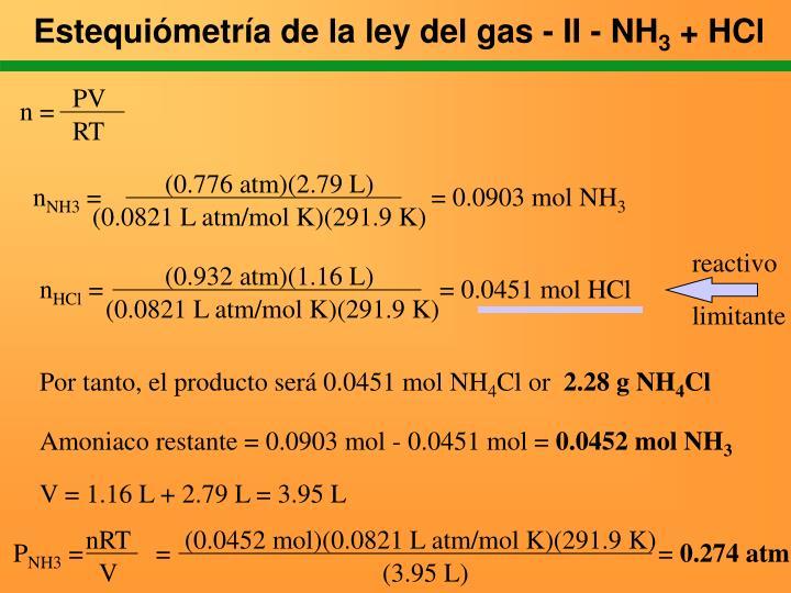 Estequiómetría de la ley del gas - II - NH