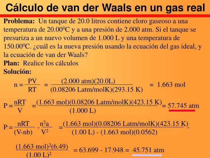 Cálculo de van der Waals en un gas real
