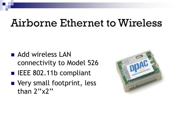 Airborne Ethernet to Wireless