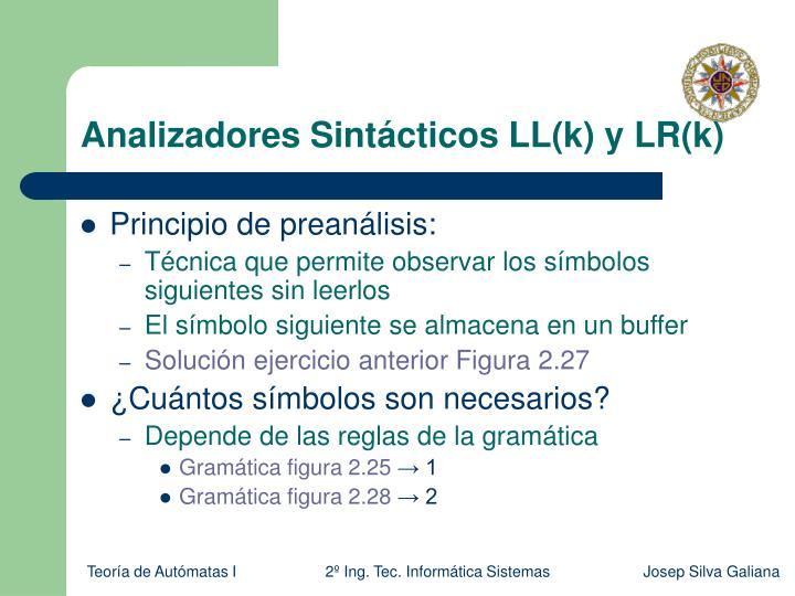 Analizadores Sintácticos LL(k) y LR(k)