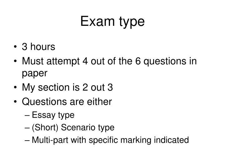 Exam type