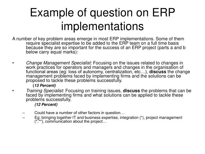 Example of question on ERP implementations
