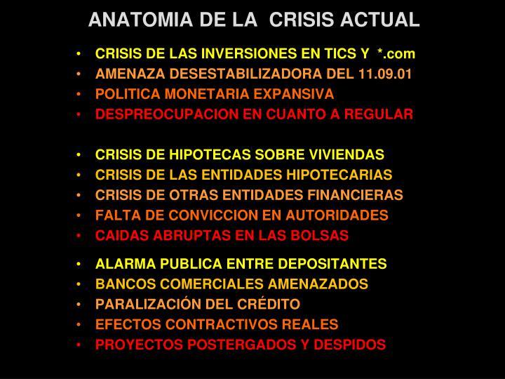 ANATOMIA DE LA  CRISIS ACTUAL