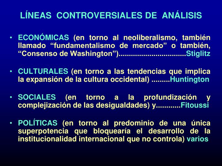 LÍNEAS  CONTROVERSIALES DE  ANÁLISIS