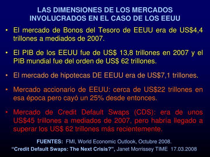 LAS DIMENSIONES DE LOS MERCADOS INVOLUCRADOS EN EL CASO DE LOS EEUU