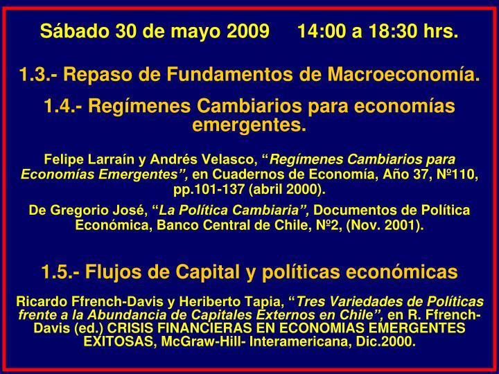 Sábado 30 de mayo 2009     14:00 a 18:30 hrs.