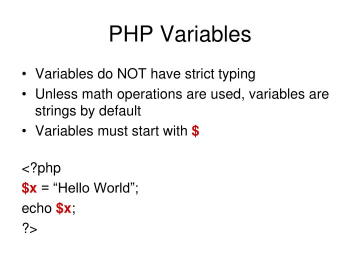 PHP Variables