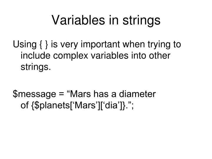 Variables in strings