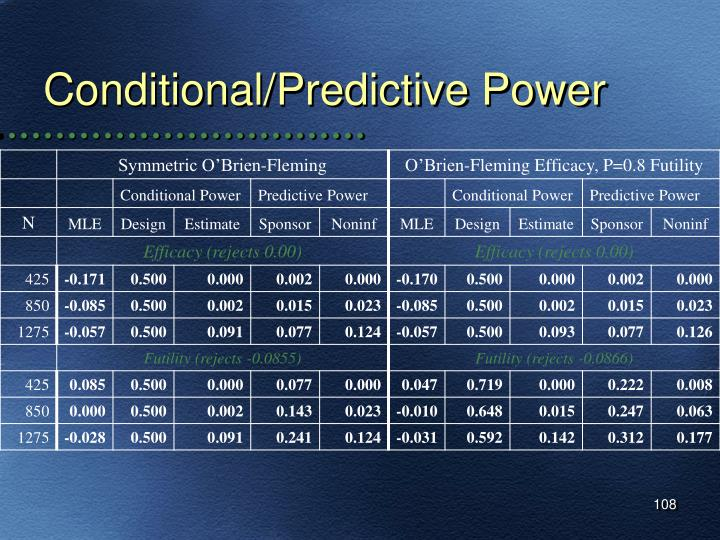 Conditional/Predictive Power