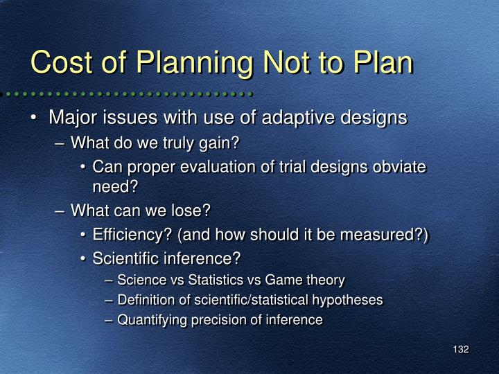 Cost of Planning Not to Plan
