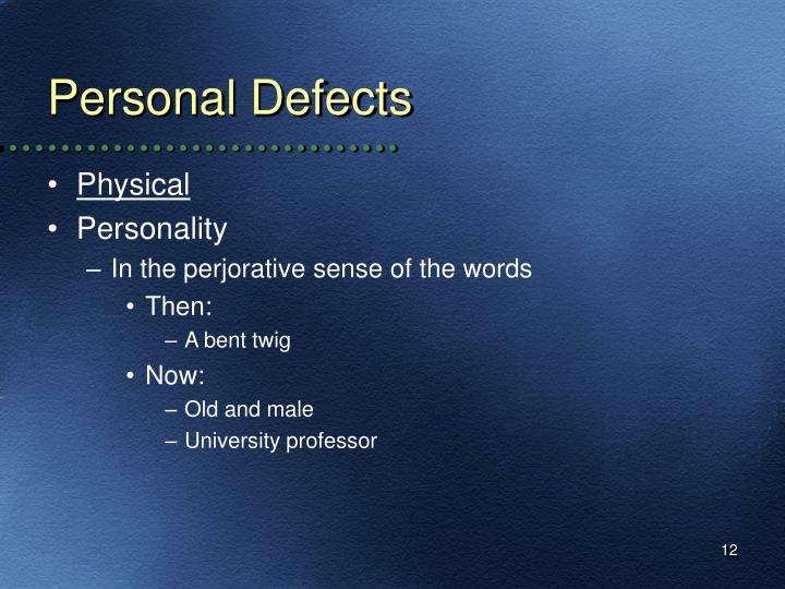 Personal Defects